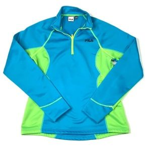 FILA Womens Pullover Top Shirt Blue Green Color M